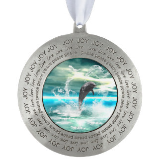 Dolphin jumping in the sea with waves as heart round ornament
