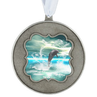 Dolphin jumping in the sea with waves as heart scalloped ornament