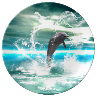 Dolphin jumping in the sea with waves as heart porcelain plates