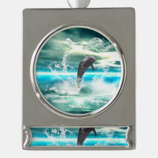 Dolphin jumping in the sea with waves as heart silver plated banner ornament