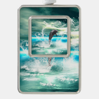 Dolphin jumping in the sea with waves as heart silver plated framed ornament