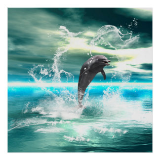 Dolphin jumping in the sea with waves as heart posters