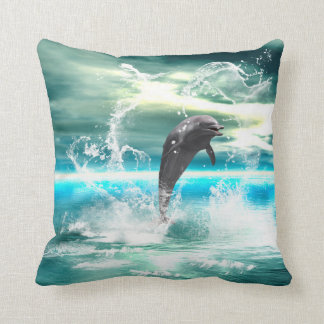Dolphin jumping in the sea with waves as heart throw pillow
