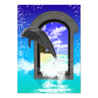 "Dolphin jumping 5"" x 7"" invitation card"