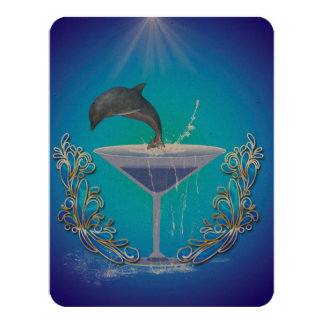 Dolphin jumping out of a glass 4.25x5.5 paper invitation card