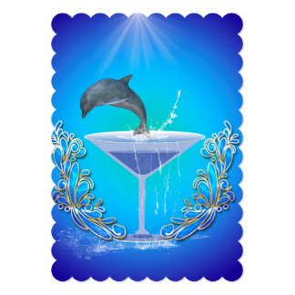 Dolphin jumping out of a glass 5x7 paper invitation card