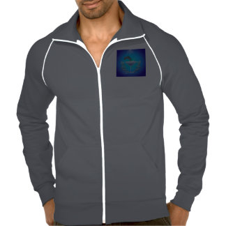 Dolphin jumping out of a glass american apparel fleece track jacket