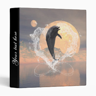 Dolphin jumping out of a heart made of water binders
