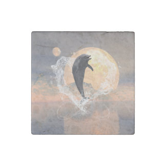 Dolphin jumping out of a heart made of water stone magnet