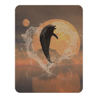 "Dolphin jumping out of a heart made of water 4.25"" x 5.5"" invitation card"