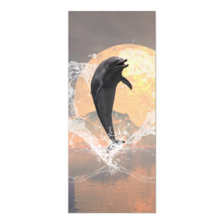 "Dolphin jumping out of a heart made of water 4"" x 9.25"" invitation card"