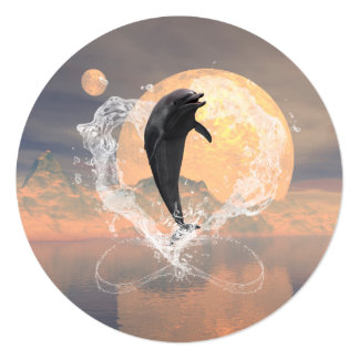Dolphin jumping out of a heart made of water 5.25x5.25 square paper invitation card