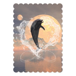 "Dolphin jumping out of a heart made of water 5"" x 7"" invitation card"