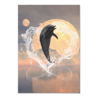 Dolphin jumping out of a heart made of water 3.5x5 paper invitation card