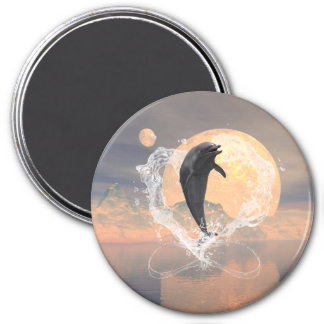 Dolphin jumping out of a heart made of water 3 inch round magnet