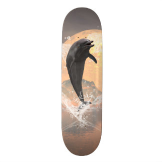 Dolphin jumping out of a heart made of water skateboard decks