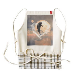 Dolphin jumping out of a heart made of water zazzle HEART apron