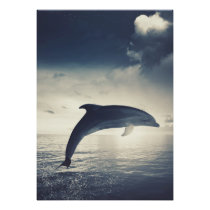 Dolphin jumping out of water art poster