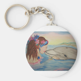 Dolphin Kiss Basic Round Button Keychain