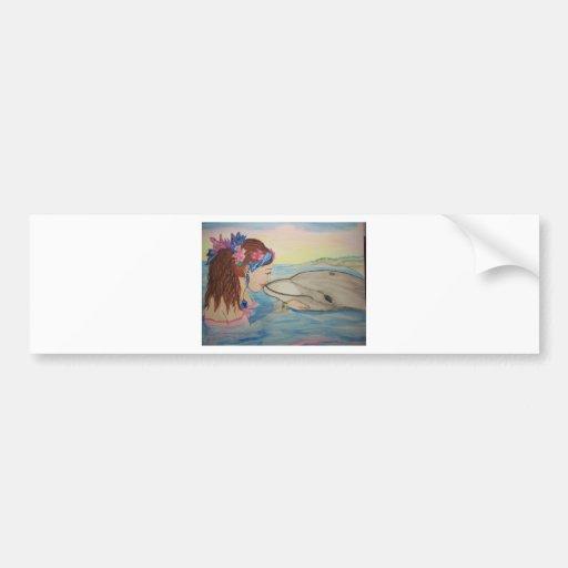 Dolphin Kiss Car Bumper Sticker