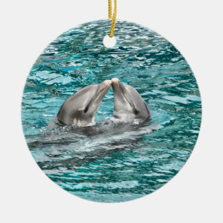 Dolphin Kiss Ceramic Ornament