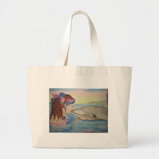 Dolphin Kiss Large Tote Bag