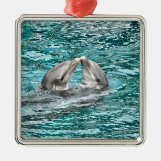Dolphin Kiss Metal Ornament