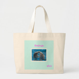 Dolphin-kiss-Photographic-Print-C12152485, shiv... Large Tote Bag