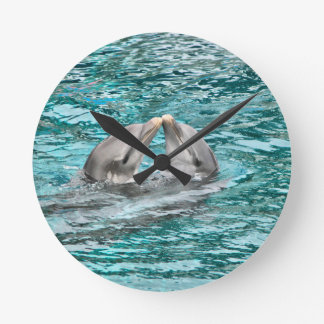 Dolphin Kiss Round Clock