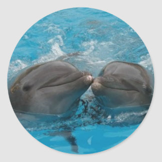 Dolphin Kiss Classic Round Sticker