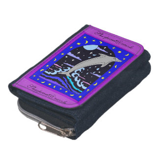 Dolphin `Leap for the stars' Denim Wallet Purse