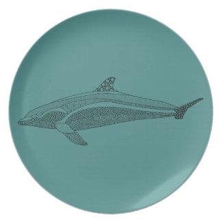 Dolphin Line Art Design Melamine Plate