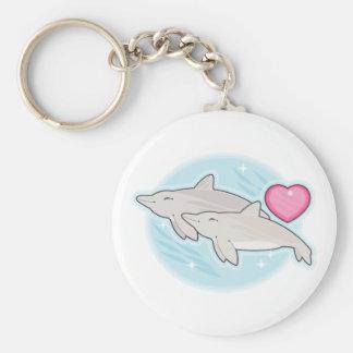 dolphin love basic round button keychain