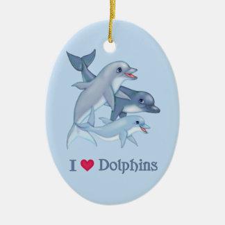 Dolphin Love Ceramic Ornament
