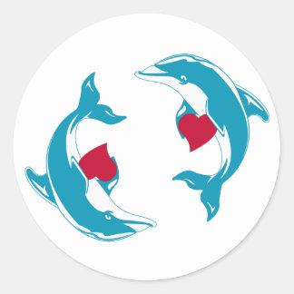 Dolphin Love Classic Round Sticker