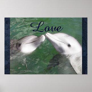 Dolphin Love Fish Water Marine Ocean Animal Cute Poster