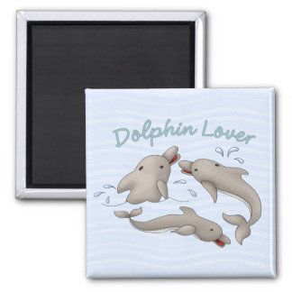 Dolphin Lover 2 Inch Square Magnet