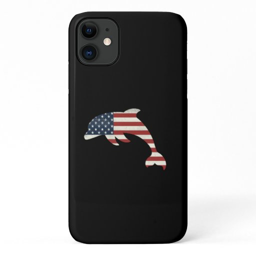 Dolphin Lover Gift| Dolphin American Flag Indepenc iPhone 11 Case