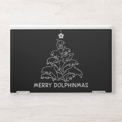 Dolphin Lover Gift| Dolphin Merry Christmas Tree HP Laptop Skin