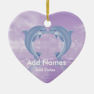 DOLPHIN LOVER GIFT PURPLE BACKGROUNDS CERAMIC ORNAMENT