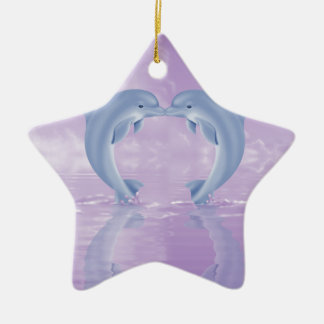 DOLPHIN LOVER GIFT PURPLE BACKGROUNDS CHRISTMAS ORNAMENTS