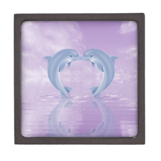 DOLPHIN LOVER GIFT PURPLE BACKGROUNDS PREMIUM TRINKET BOX