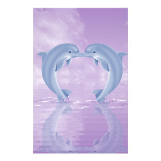 DOLPHIN LOVER GIFT PURPLE BACKGROUNDS STATIONERY