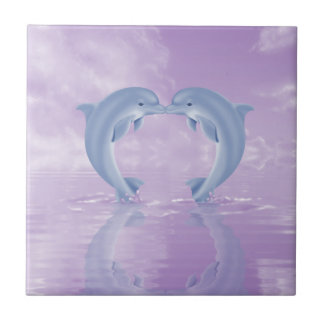 DOLPHIN LOVER GIFT PURPLE BACKGROUNDS TILE