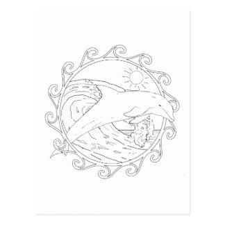 Dolphin Maori Sun Adult Coloring Postcard