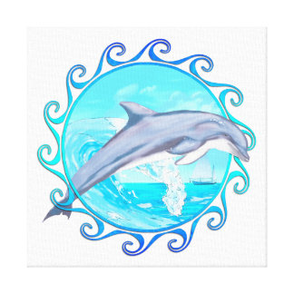 Dolphin Maori Sun Stretched Canvas Print