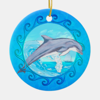 Dolphin Maori Sun Christmas Tree Ornament