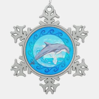 Dolphin Maori Sun Snowflake Pewter Christmas Ornament