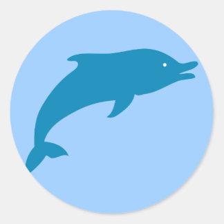 Dolphin Marine Mammals Fish Ocean Blue Animal Classic Round Sticker