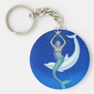 Dolphin Moon Mermaid Basic Round Button Keychain